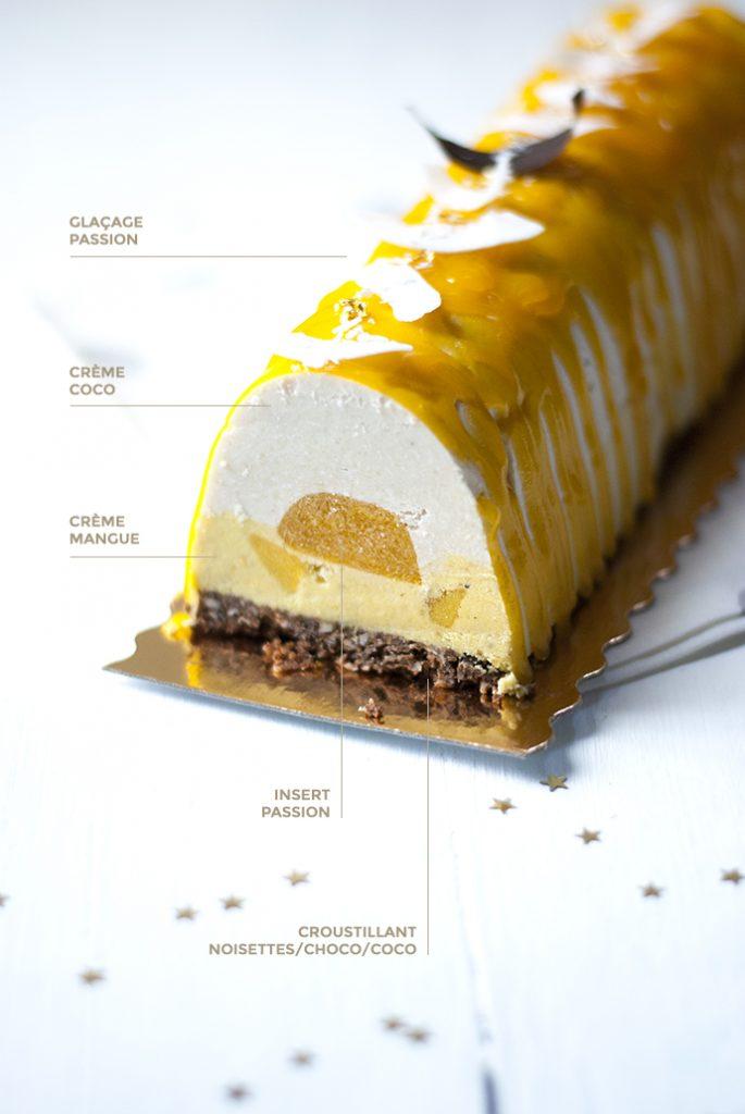 Dessert de Noël vegan : bûche passion coco