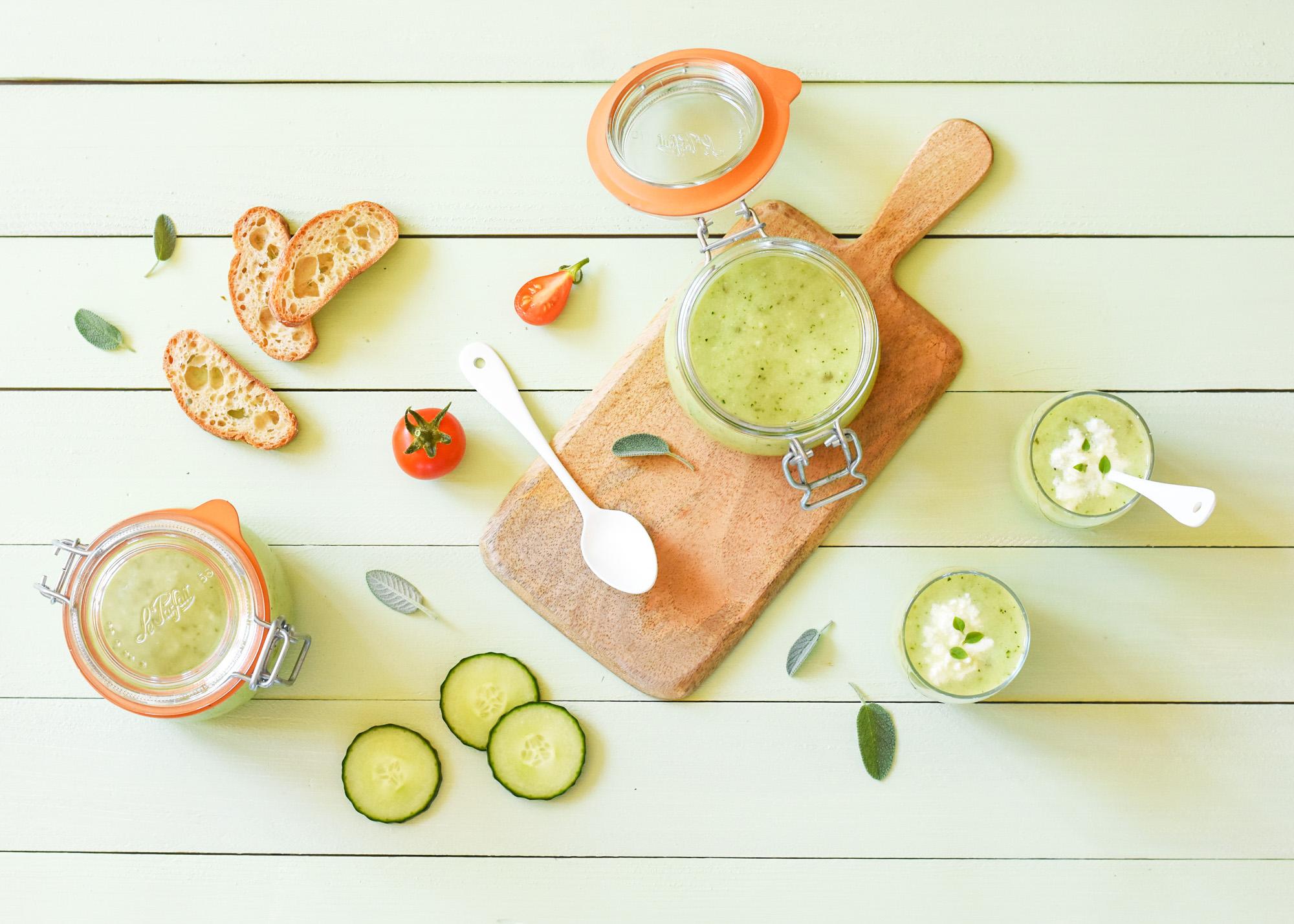 Gaspacho rafraîchissant - Courgette, concombre, fenouil et menthe