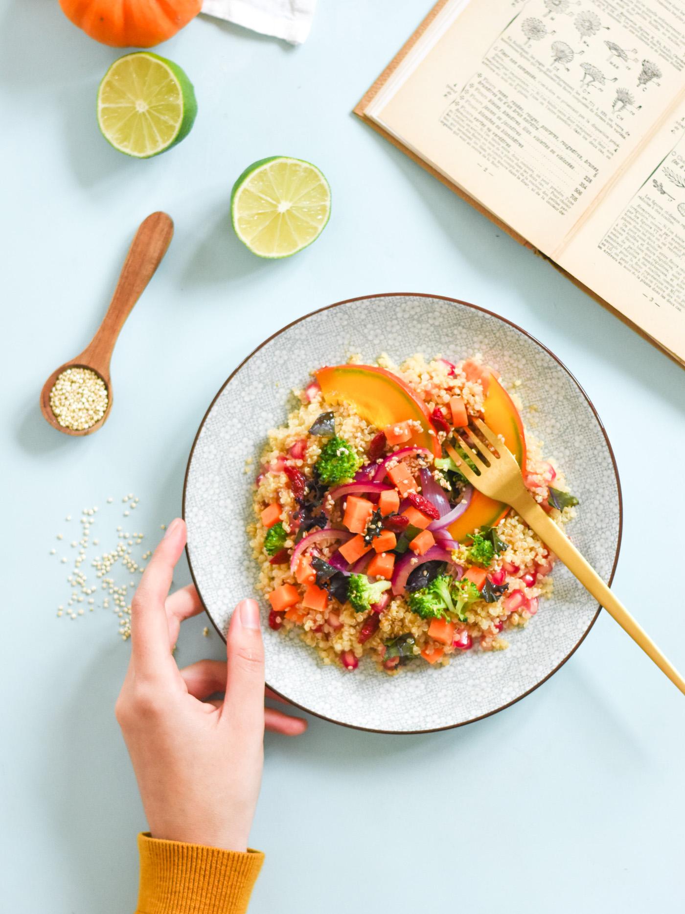 Leaf • Recette de couscous de quinoa aux légumes d'automne (Cuisson au Vitaliseur de Marion) - Vegan & Sans Gluten