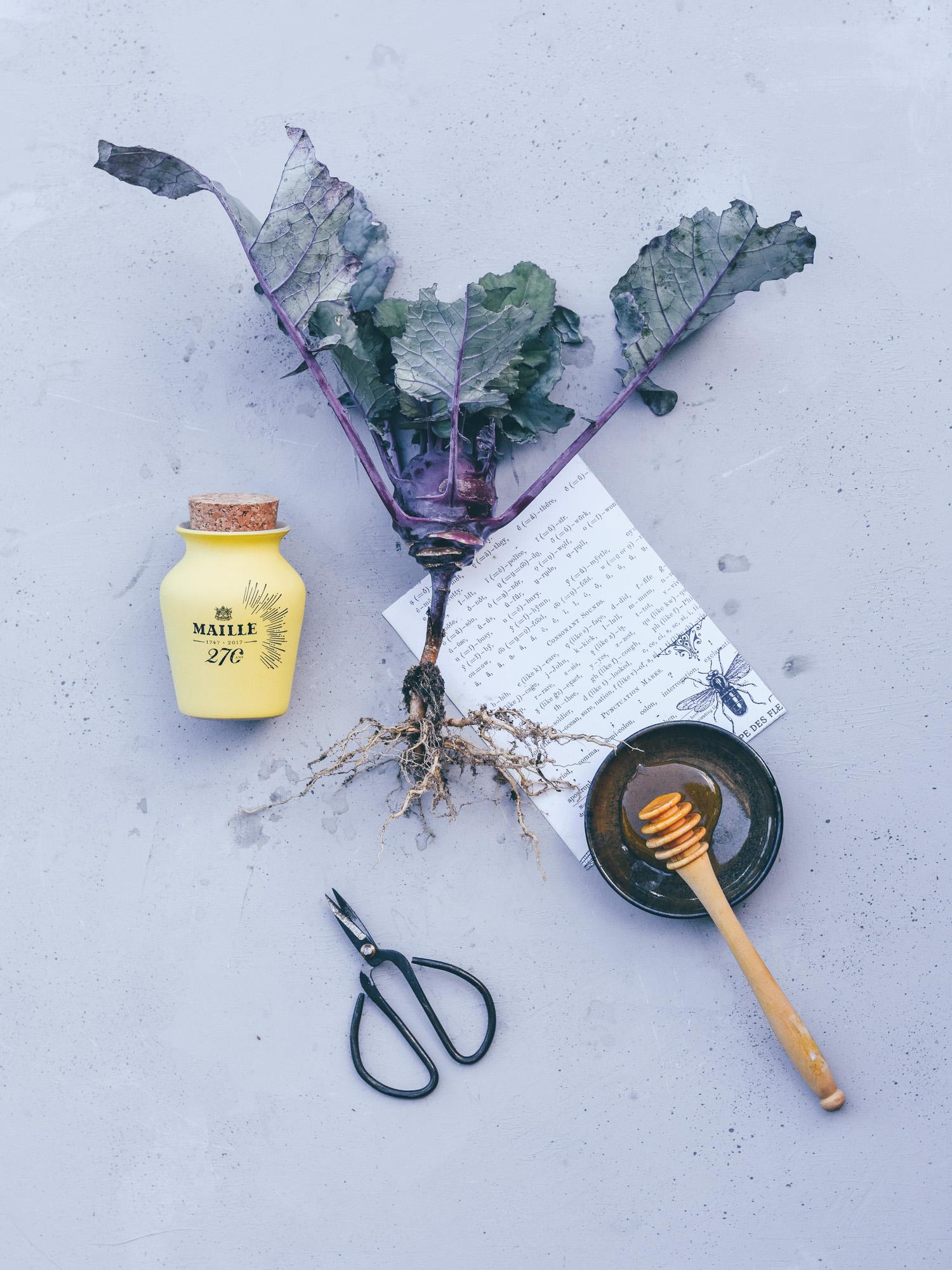 Leaf • Recette de croustillants à la moutarde au miel, chou rave & chèvre frais