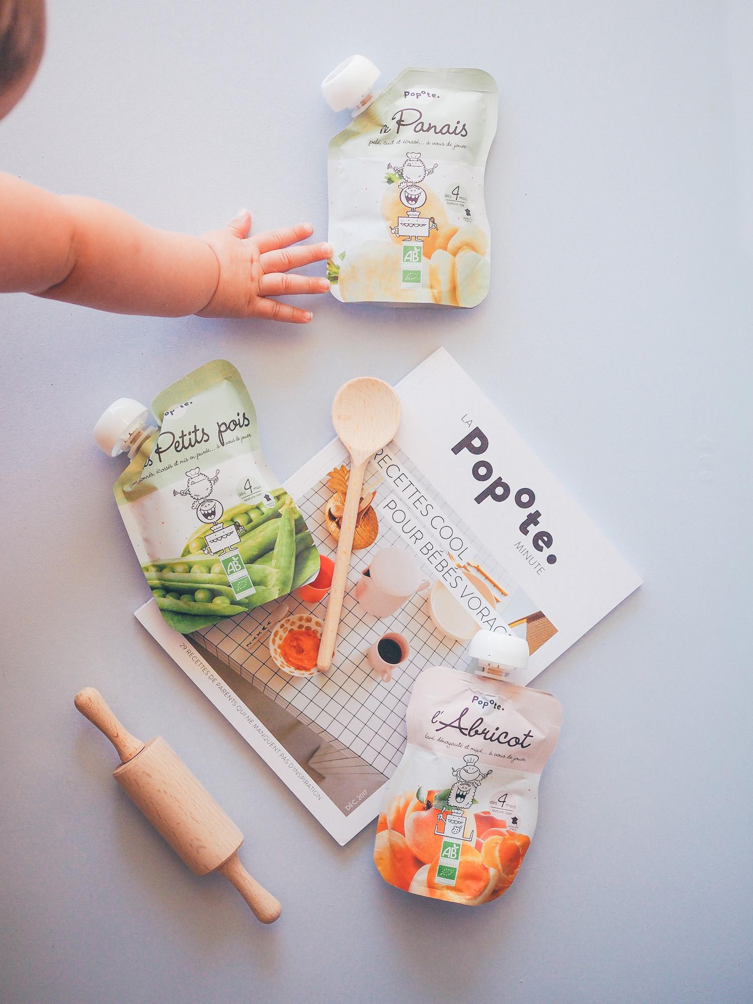 A table, aux fourneaux et en vadrouille avec Popote. Petites gourdes de fruits et légumes bio pour bébés.